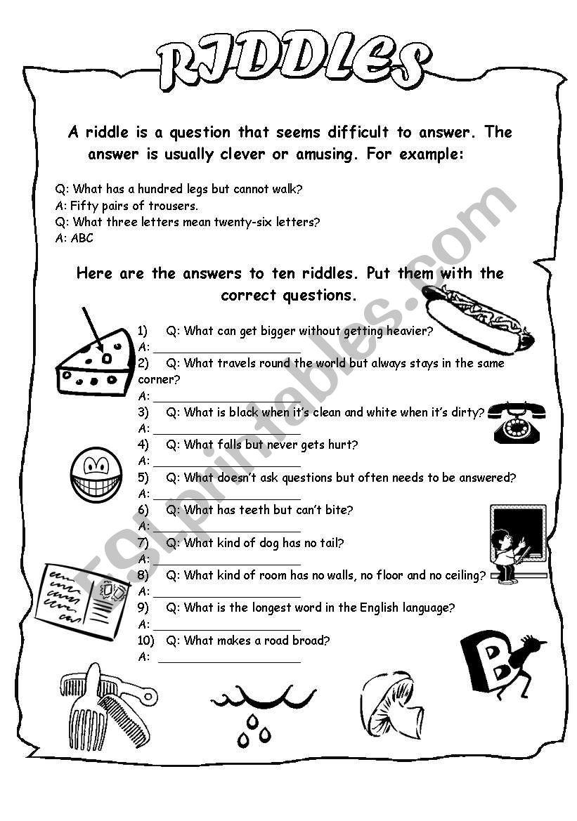 Riddle Me This Science Worksheet   A Worksheet Blog