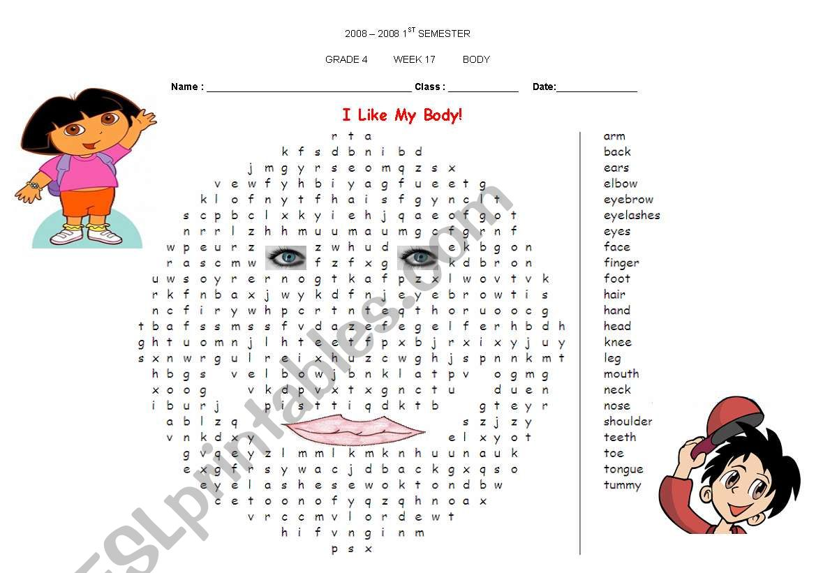 body parts puzzle worksheet