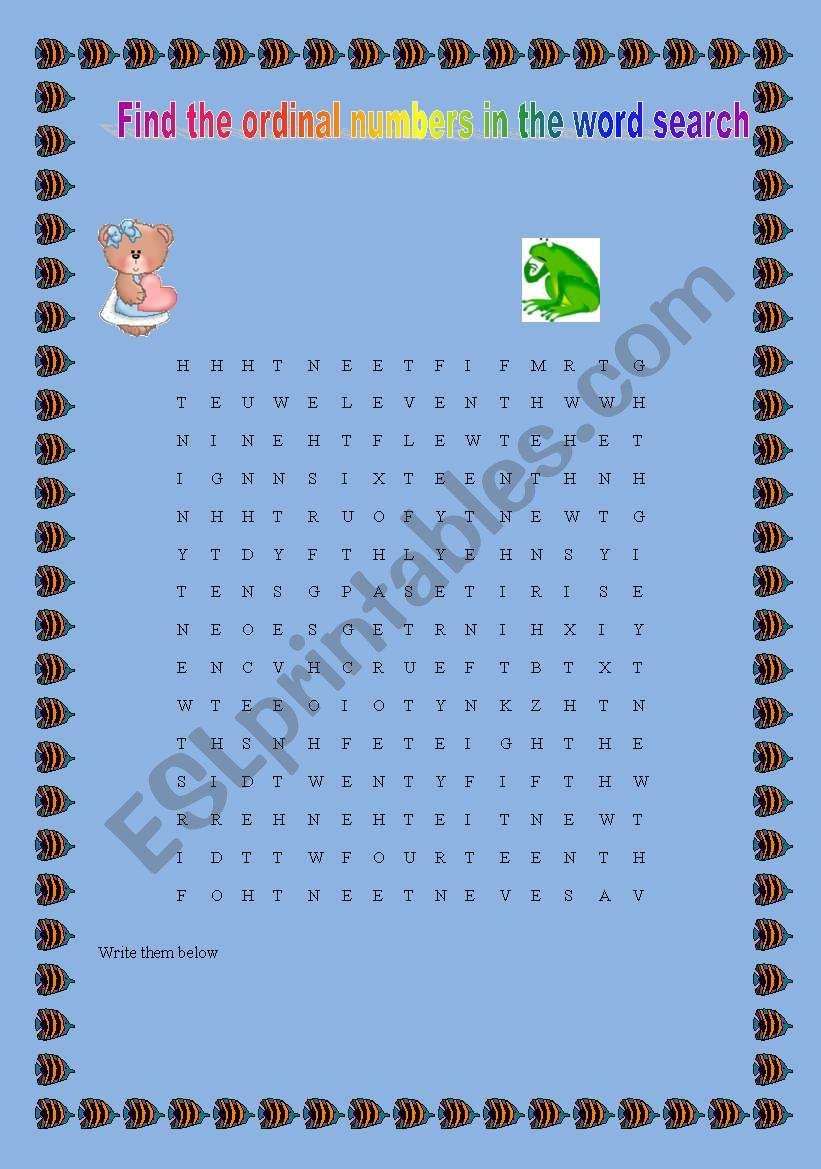 Ordinal numbers wordsearch worksheet