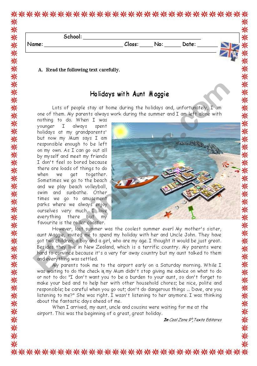 HOLIDAYS WITH AUNT MAGGIE - ESL worksheet by Rosario Pacheco