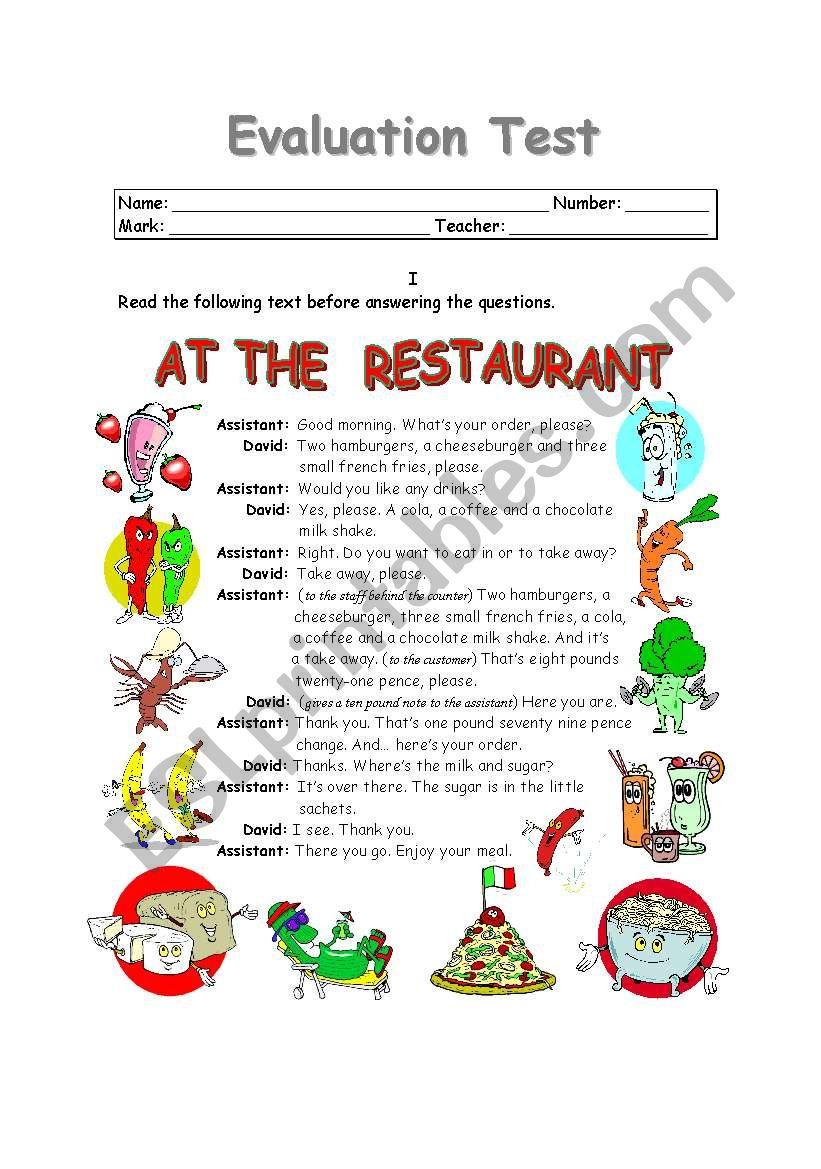 AT THE RESTAURANT (1 of 2) worksheet