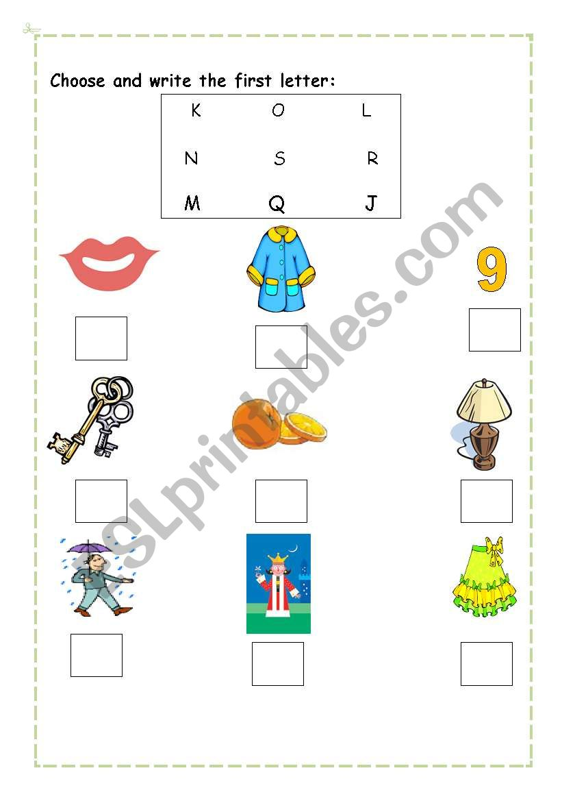 English worksheets Choose the first letter