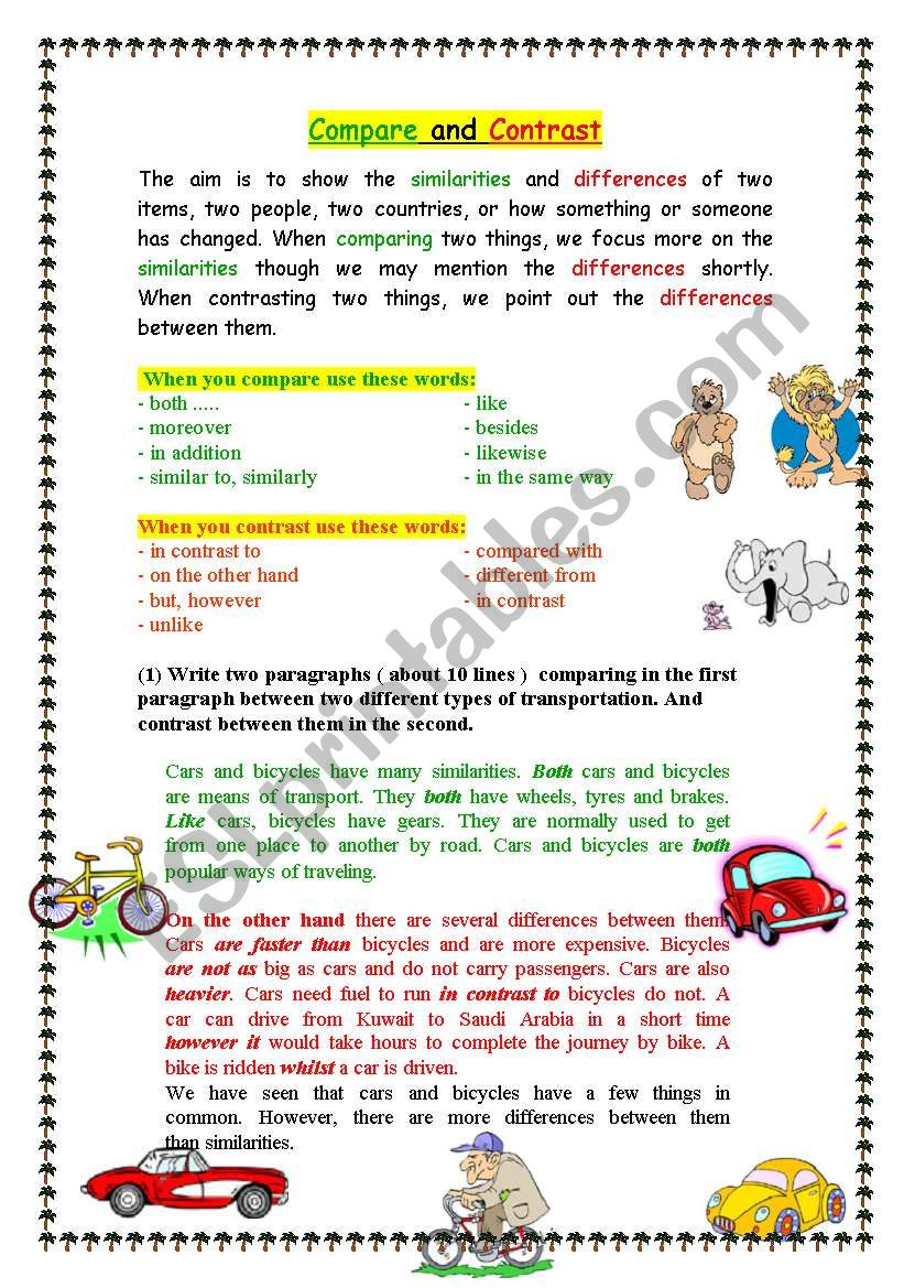Compare And Contrast Esl Worksheet By Mr Taha2009