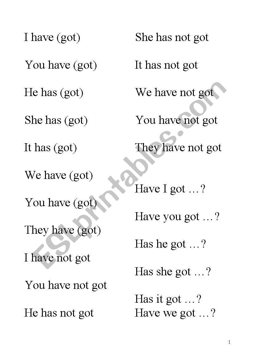 Play bingo with the verb  Have got (all forms, contracted and not