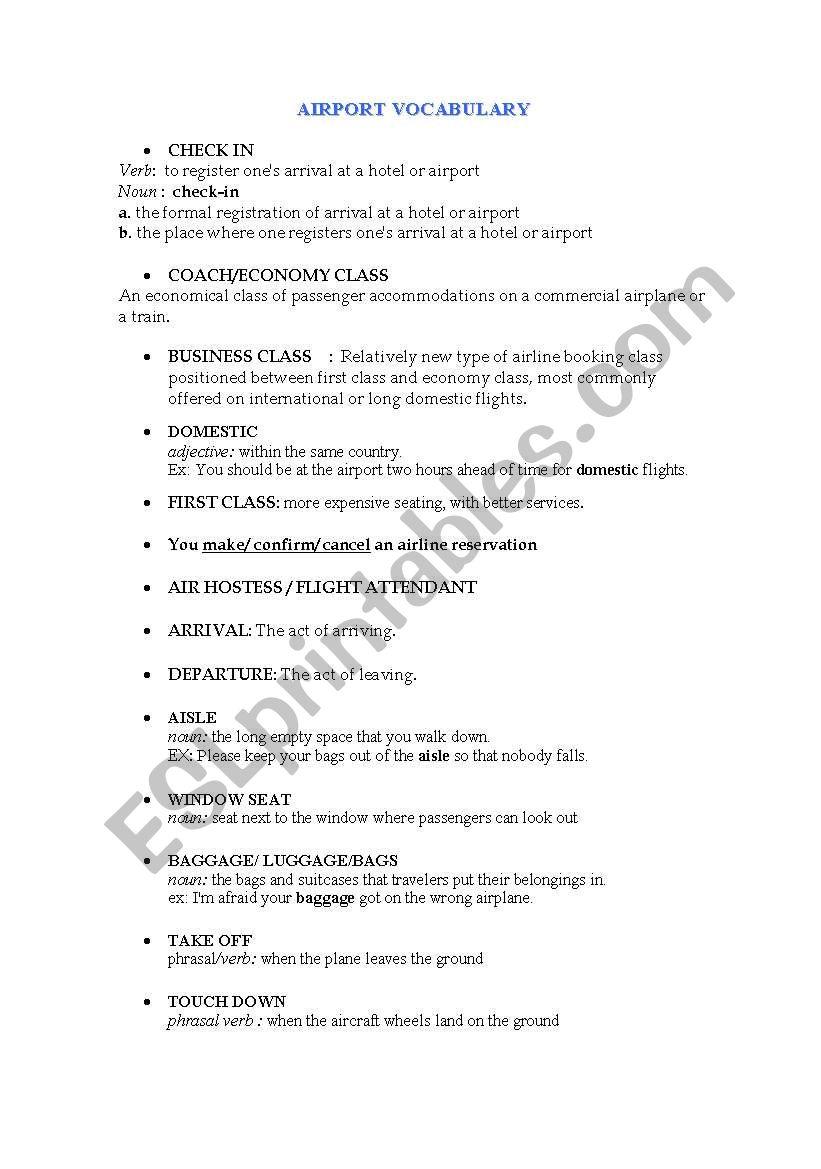 Airport vocabulary worksheet