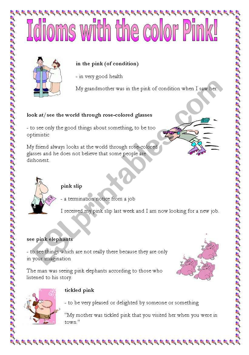 Idioms with the word pink worksheet