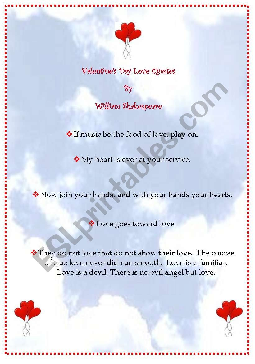 Valentine S Day Love Quotes By Shakespeare Esl Worksheet By Sldiaz