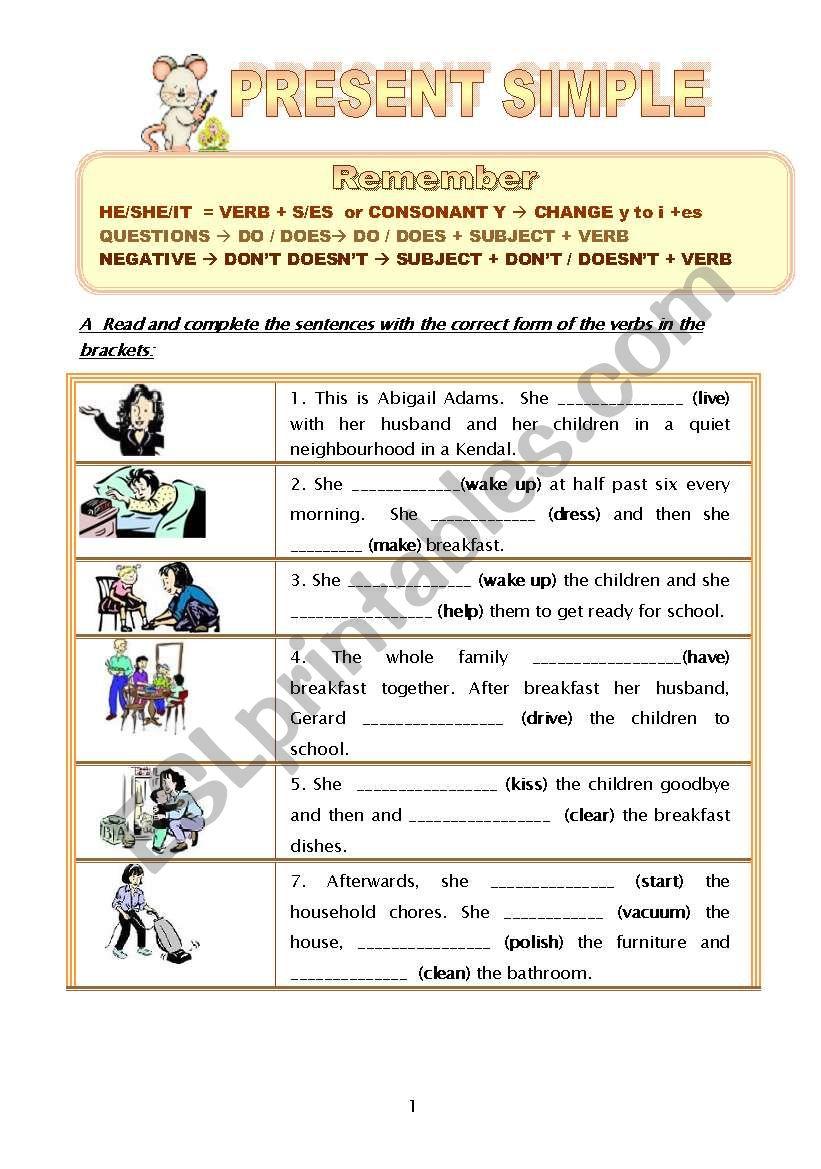 Present Simple Worksheet Esl Worksheet By Mariamit
