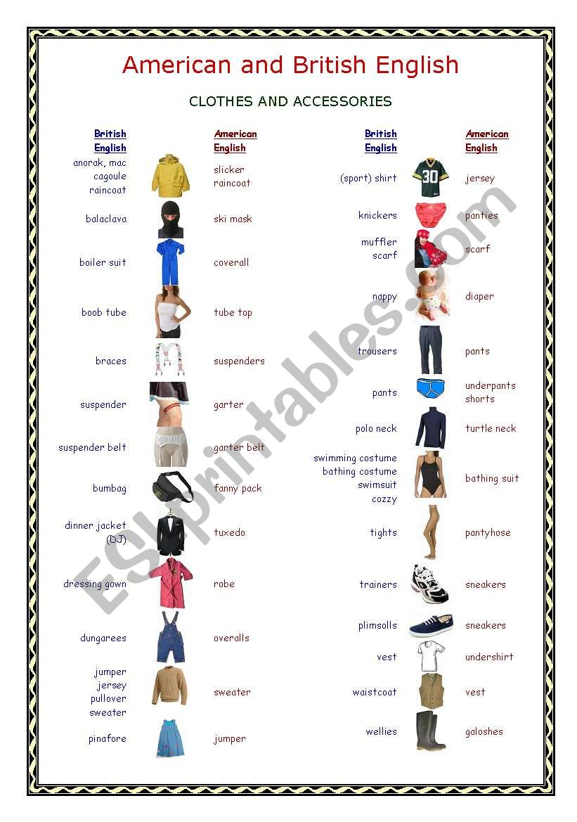 British and American English: Clothes