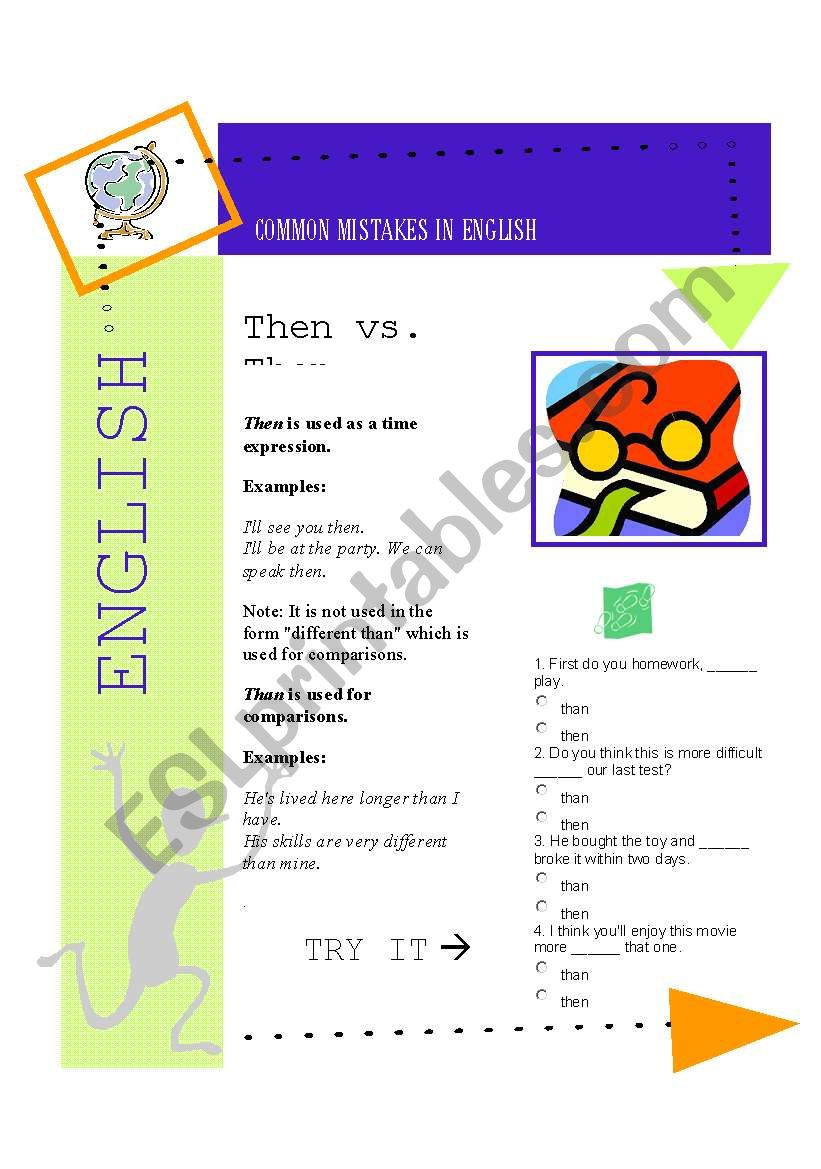 Common Mistakes 1 Then Vs Than Esl Worksheet By Soleole