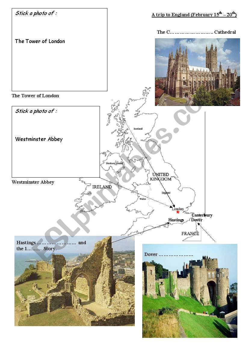 a trip to england worksheet