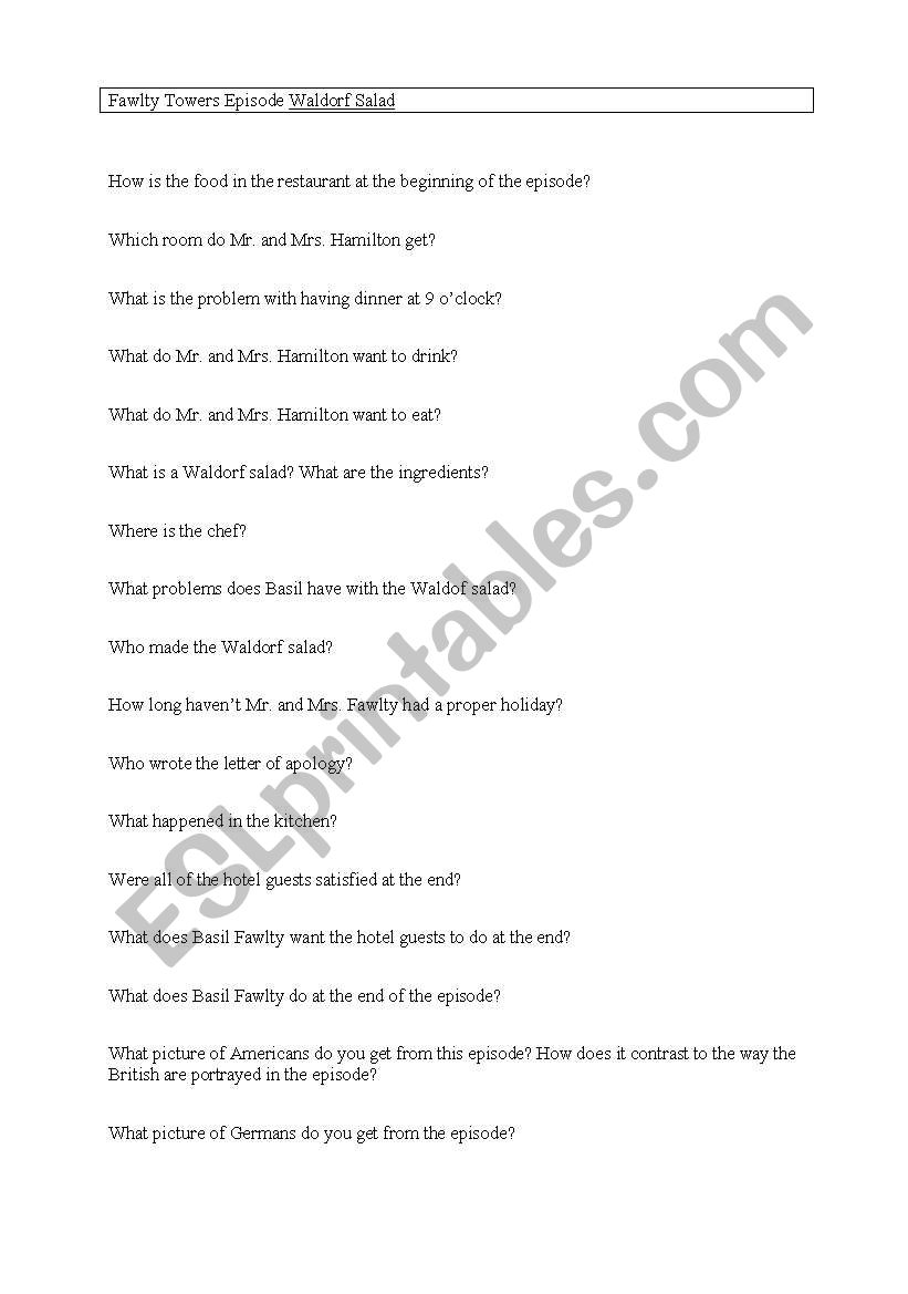 Fawlty Towers Episode Waldorf Salad Questions