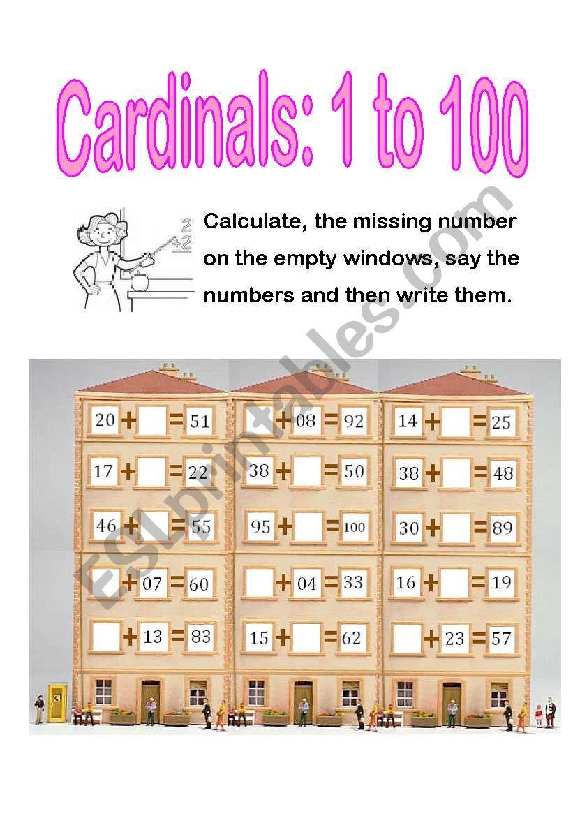 cardinal numbers:1-100 - ESL worksheet by genita