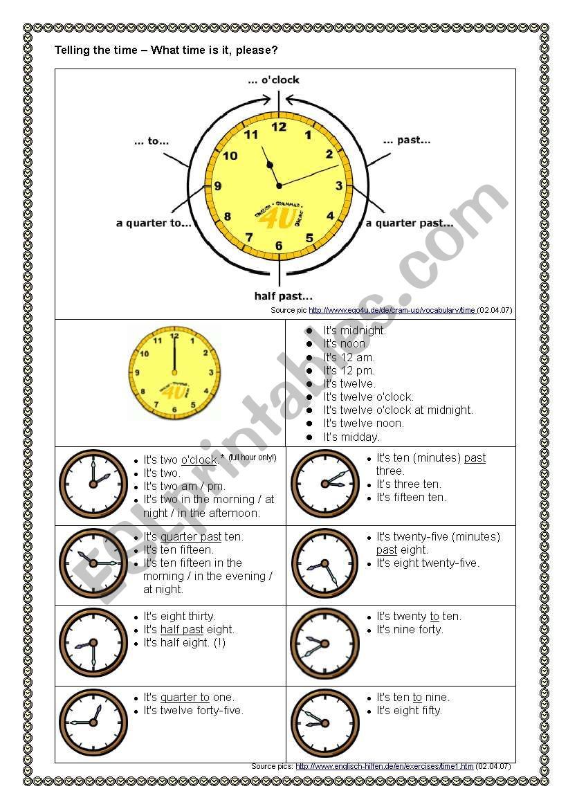 Telling the Time - Overview worksheet