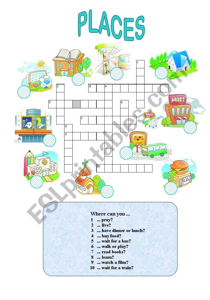 Places in town (easy) worksheet
