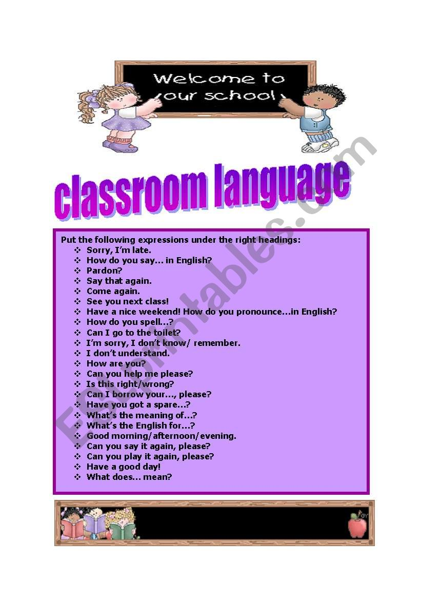 classroom language classification!!! (3 pages with answer key)