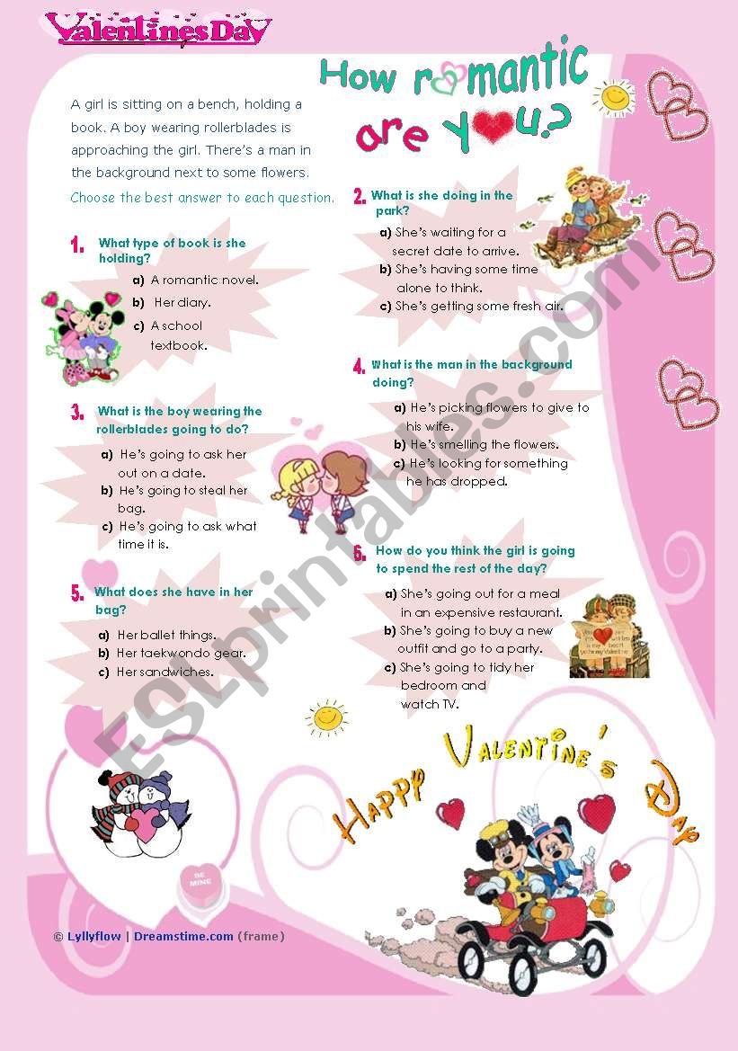 Valentine´s Day QUIZ  -  How Romantic are you?  - for all ages and levels...