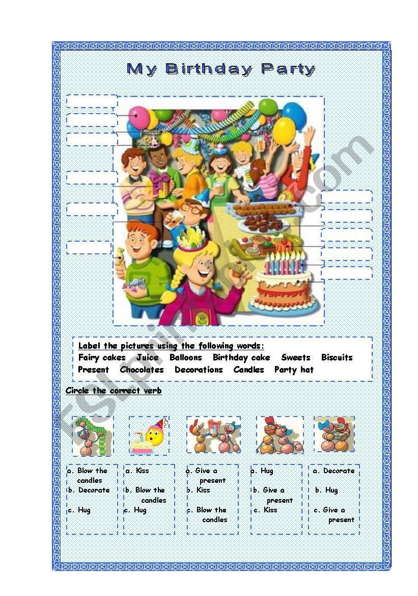 My Birthday Party worksheet