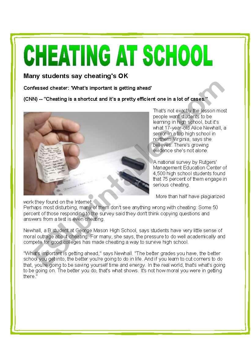 CHEATING AT SCHOOL worksheet
