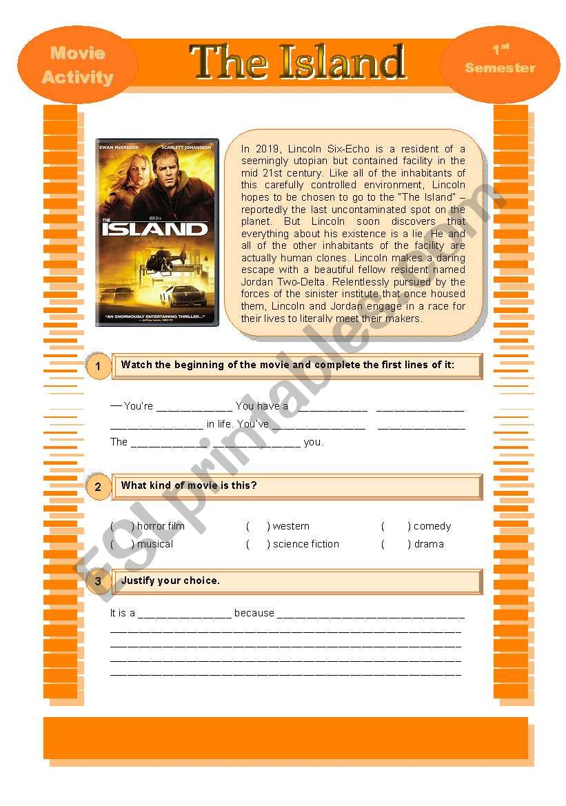 Movie Activity - The Island worksheet