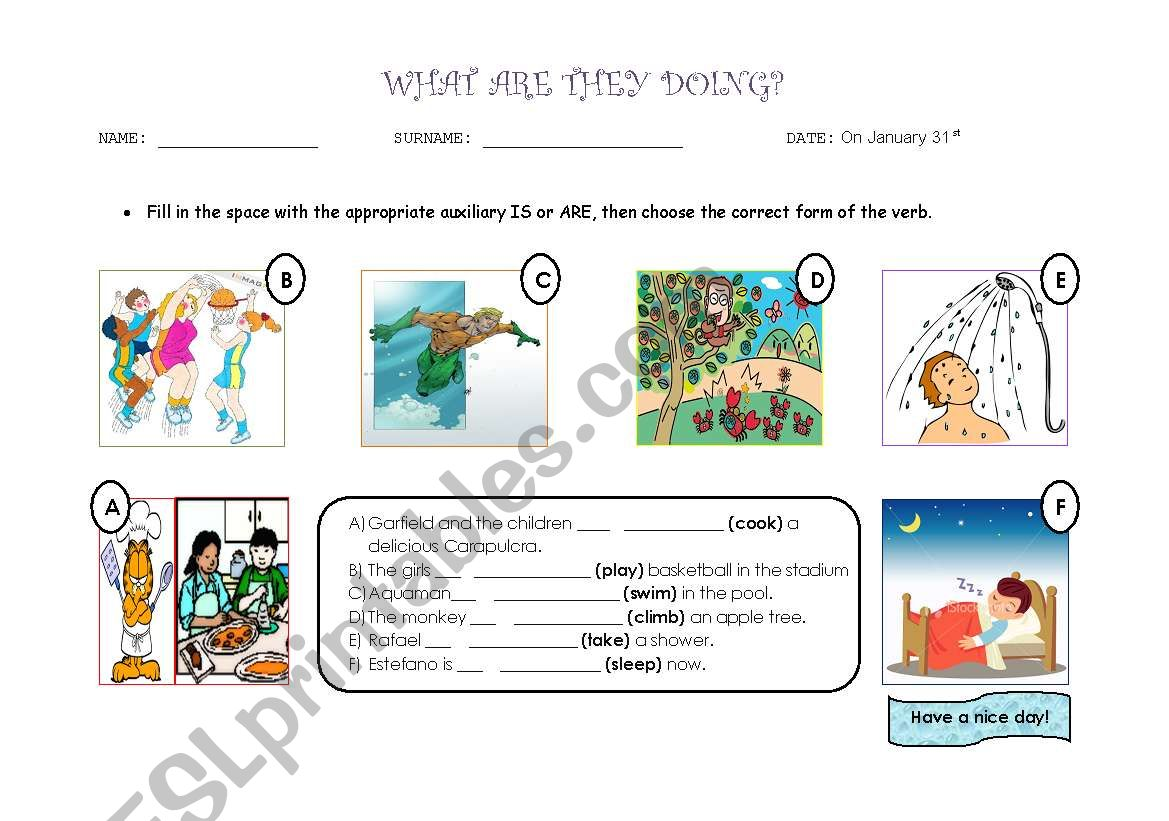 present continous worksheet