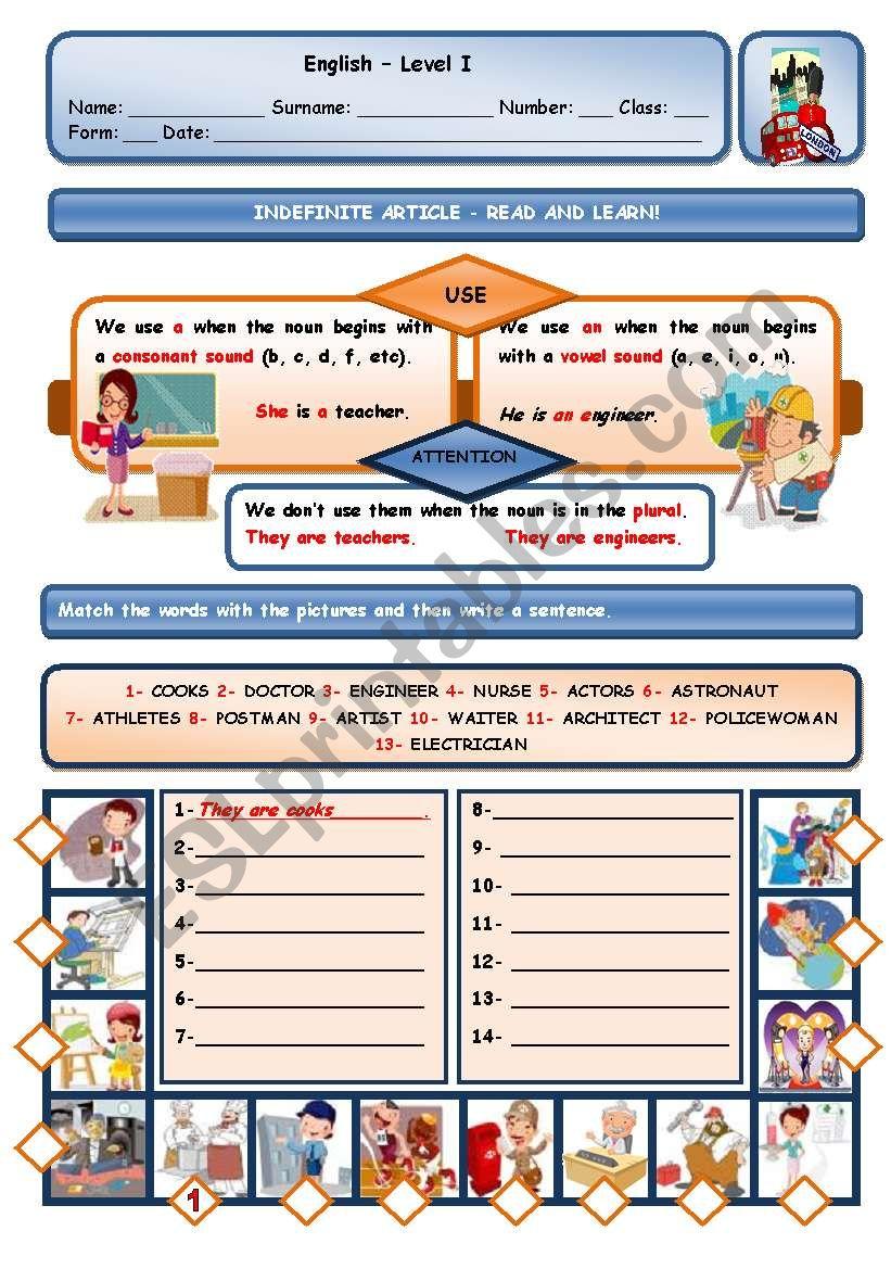 INDEFINITE ARTICLE AND JOBS worksheet