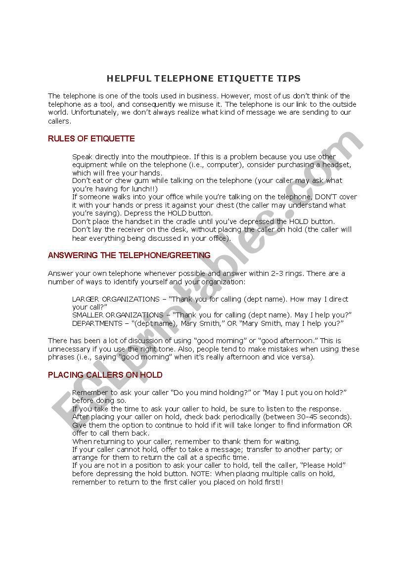 Telephone Etiquette   ESL worksheet by nonu