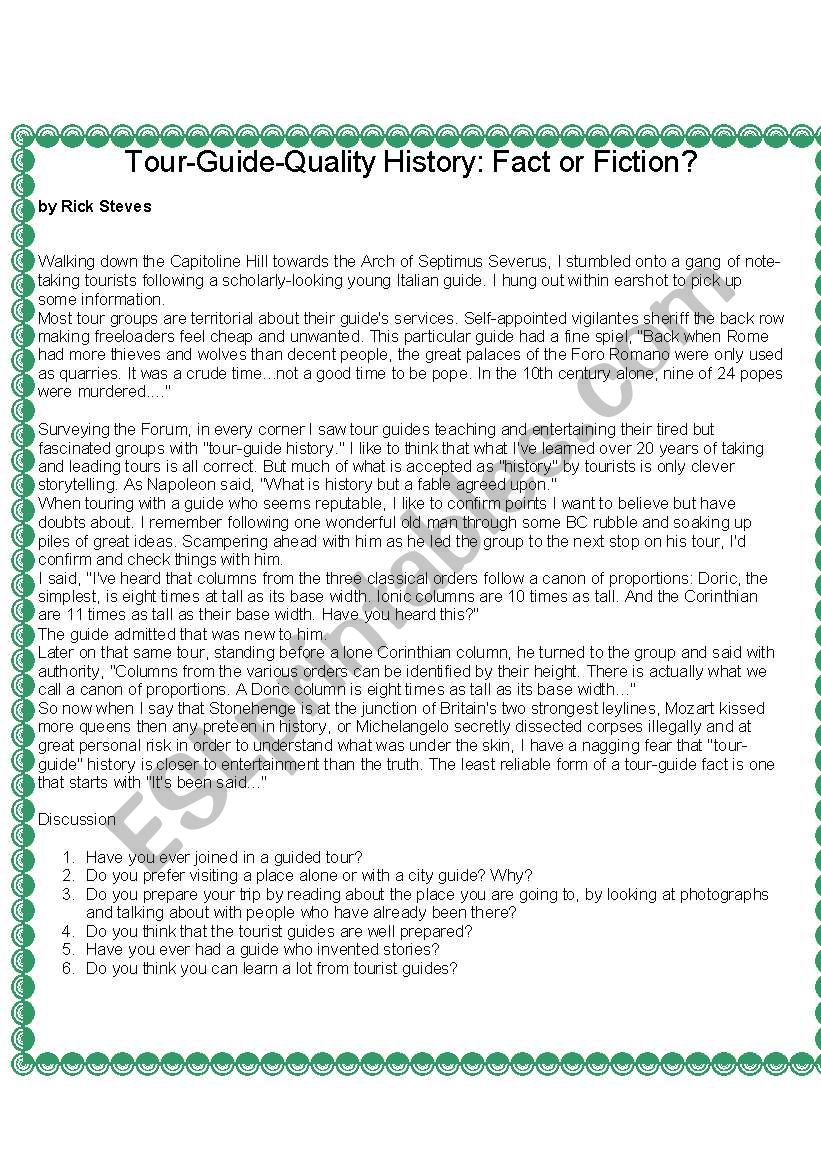 GUIDED TOURS worksheet