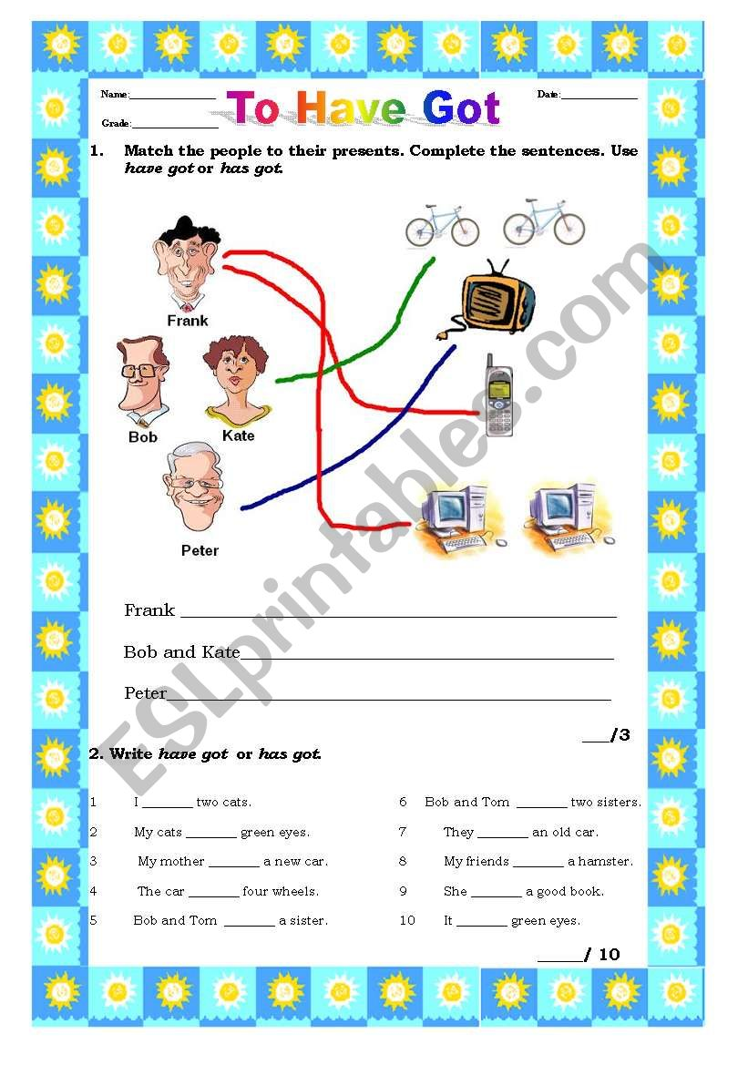 Very Simple Test- To Have Got worksheet