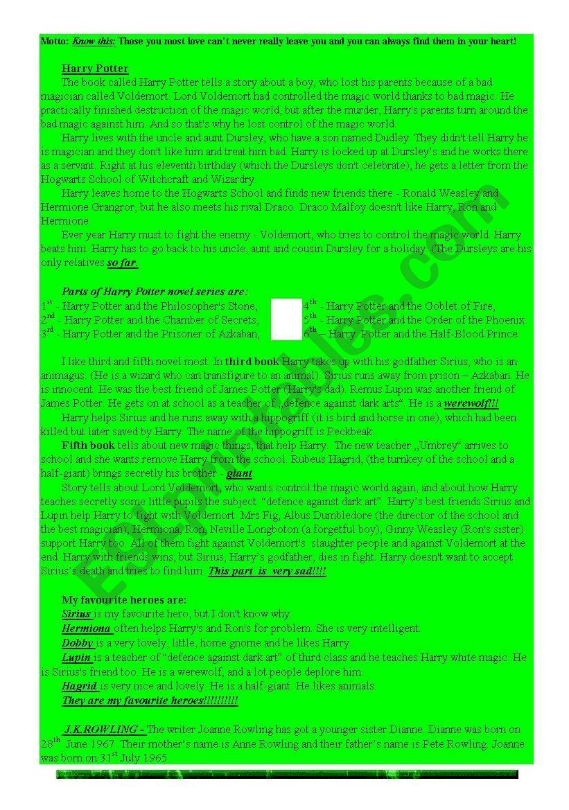 Harry Potter Reading worksheet