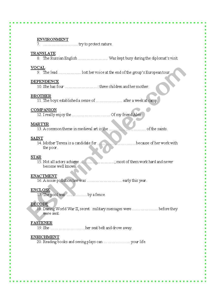 CPE VOCABULARY TEST 2: WORDS EASILY CONFUSED AND WORD FORMATION
