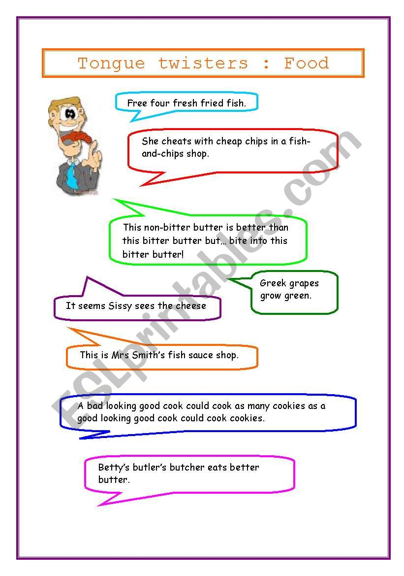 tongue twisters : food worksheet