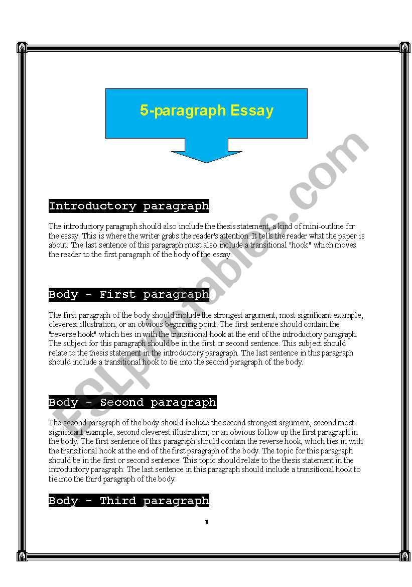 Writing Paragraph Essay  Esl Worksheet By Ali Abbasi Writing Paragraph Essay Worksheet