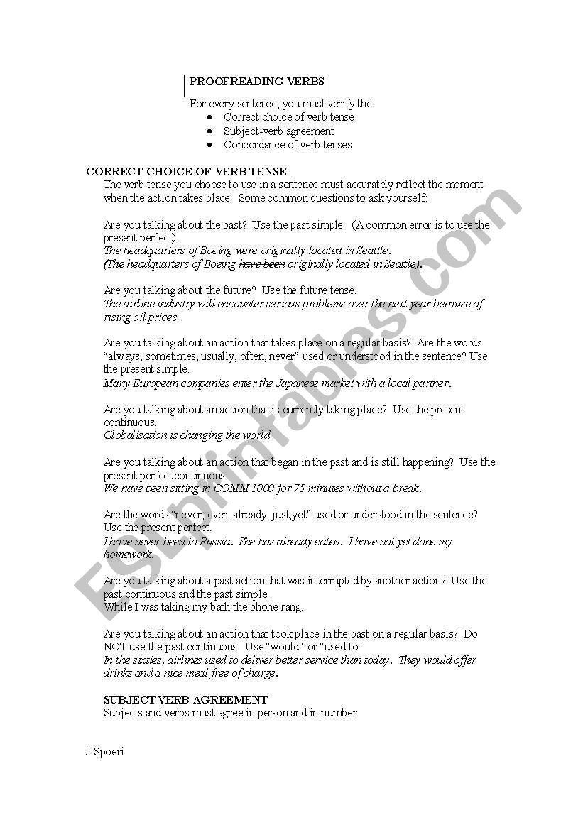 Proofreading verbs worksheet