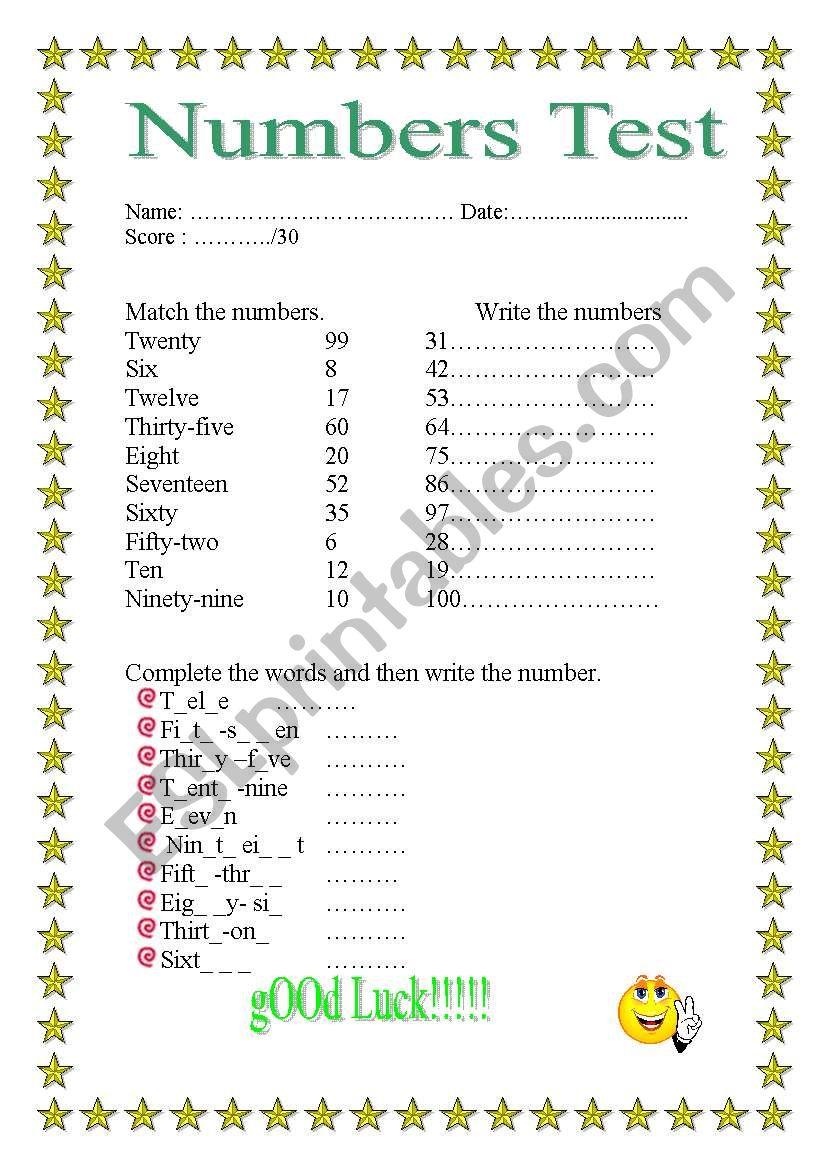 NUMBERS 1-100 - ESL worksheet by emmab