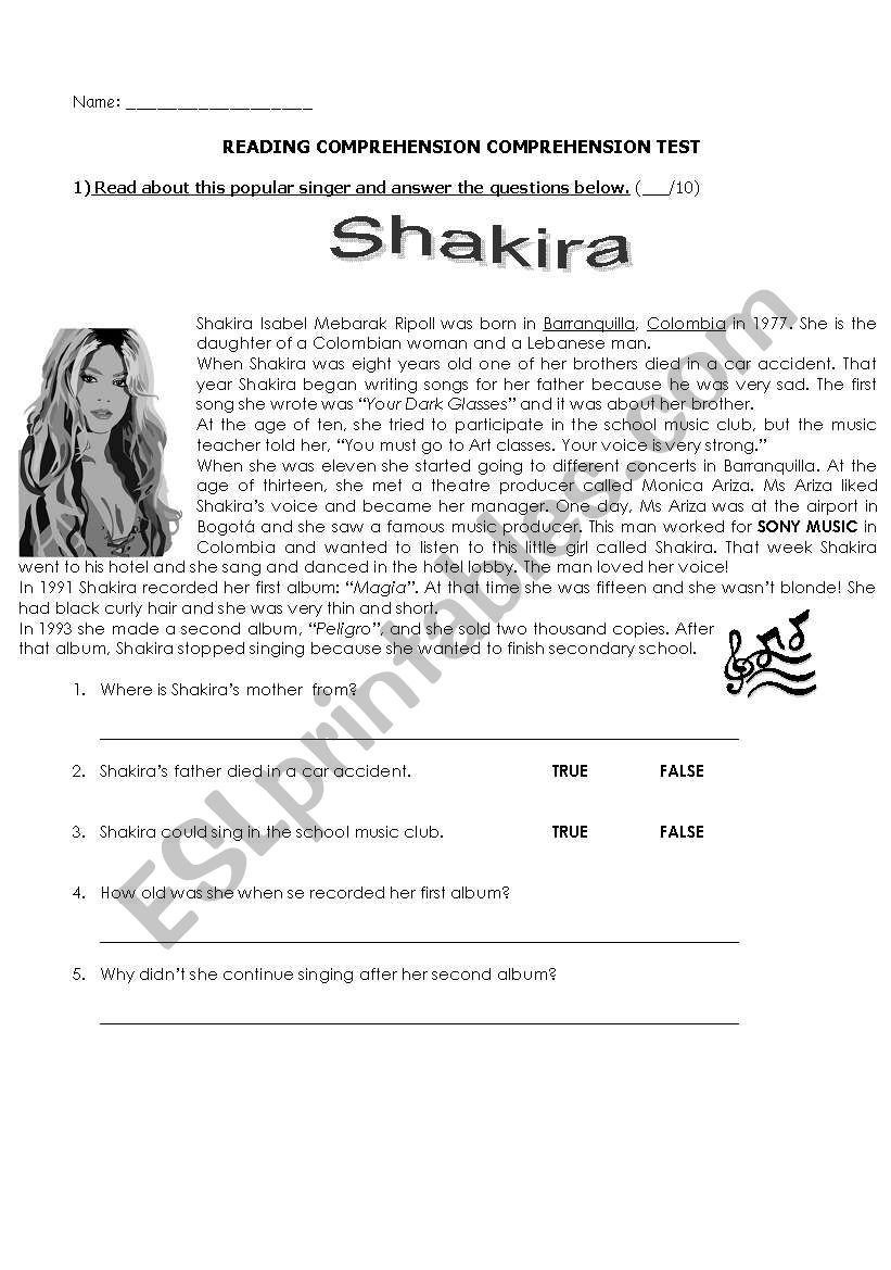 Shakira´s biography worksheet