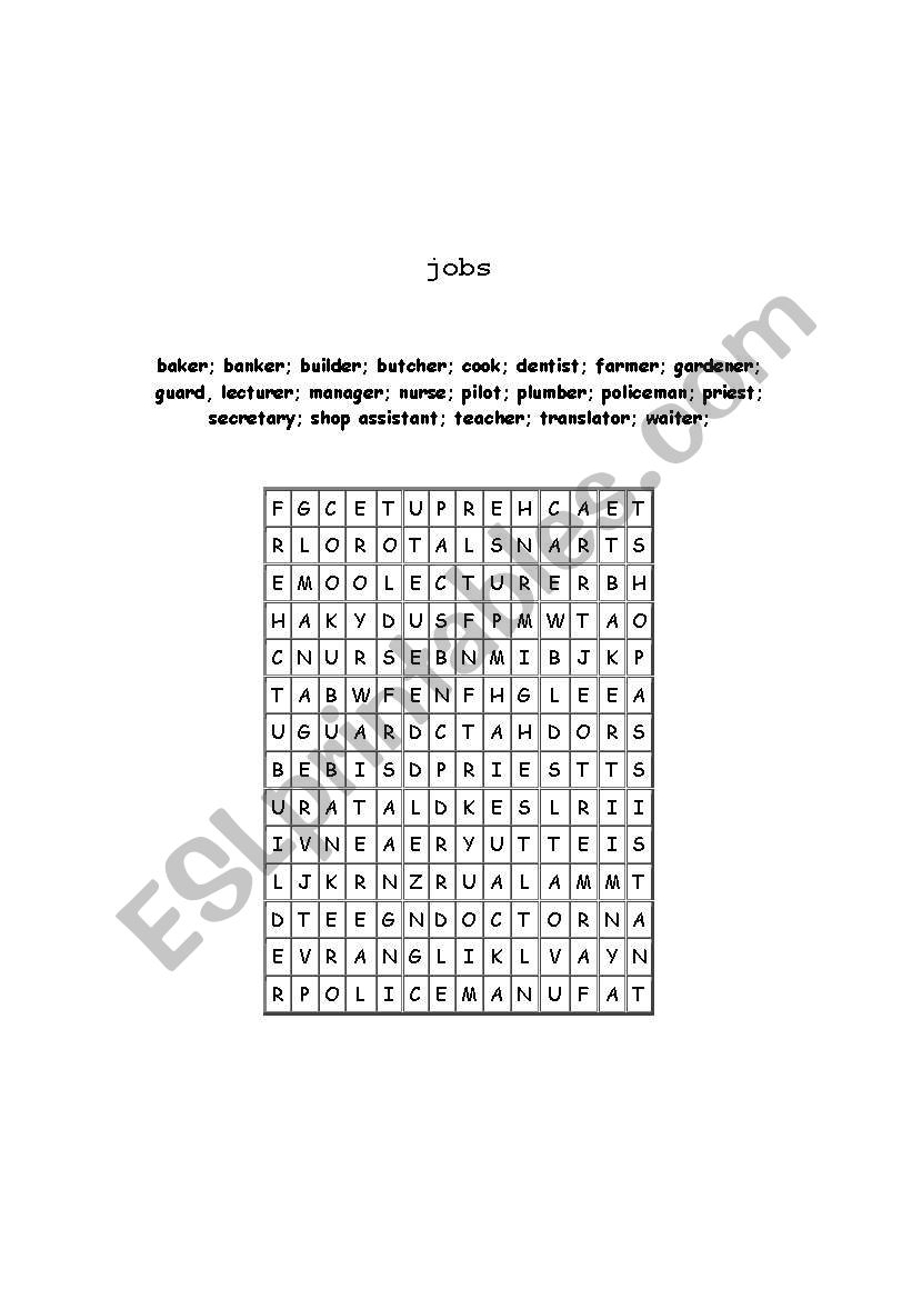 puzzle about jobs worksheet