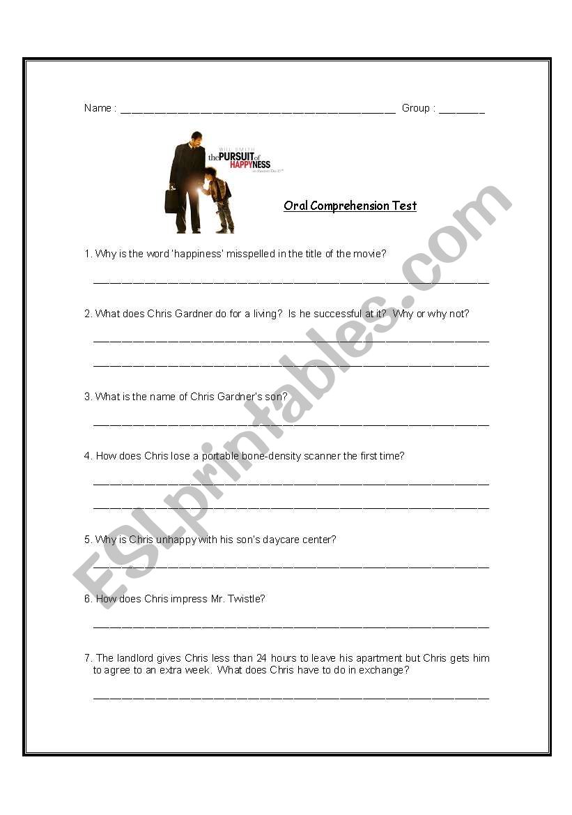 Comprehension questions on ´The Pursuit of Happyness´