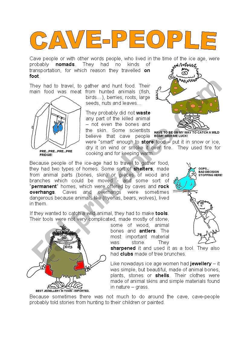 CAVE PEOLE worksheet