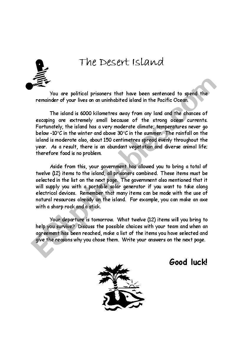 The Desert Island - ESL worksheet by lucien
