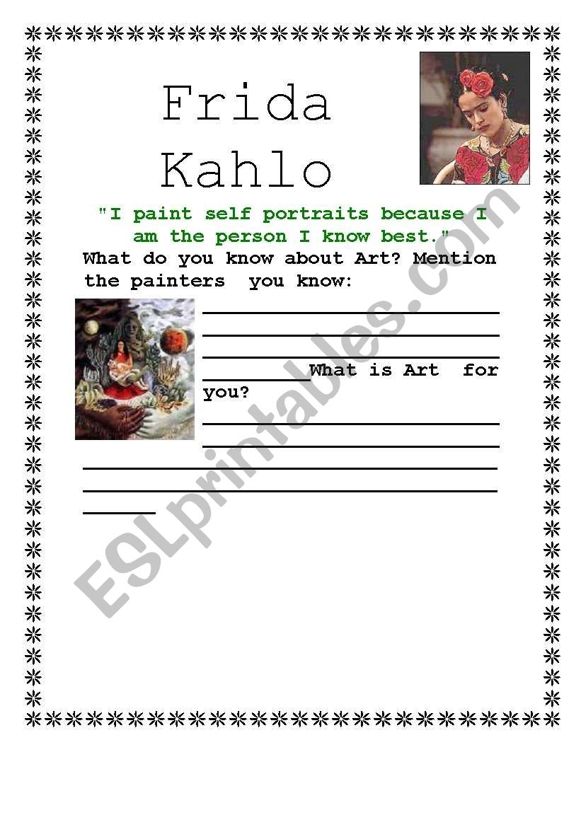Worksheets Frida Kahlo Worksheets english worksheets frida kahlo part 1 worksheet