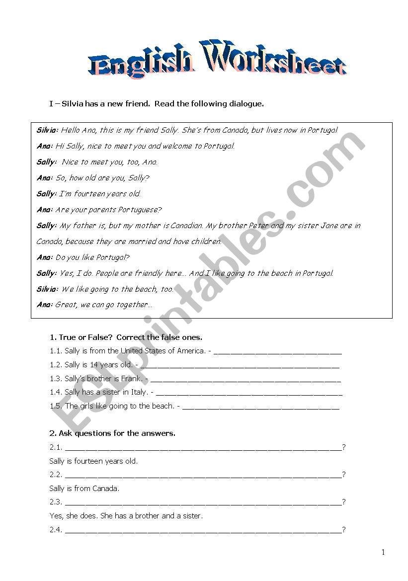 english ws- introduction, verbs    doc - ESL worksheet by susaninha