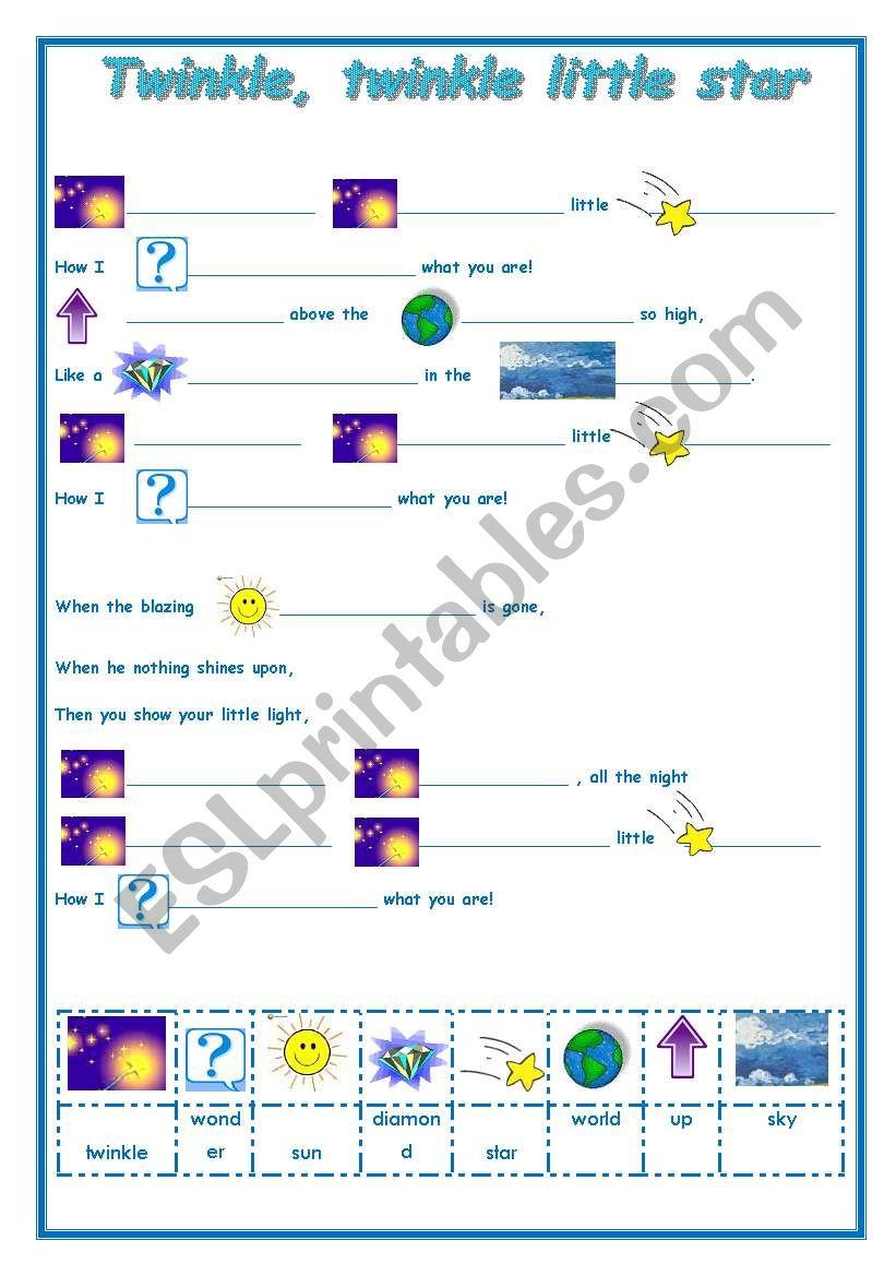 TWINKLE, TWINKLE LITTLE STAR  worksheet