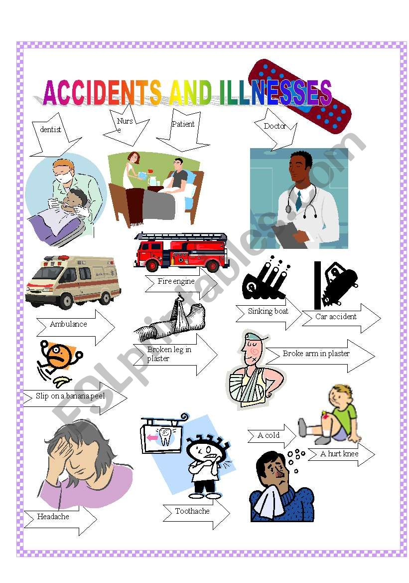 ACCIDENTS AND ILLNESS worksheet