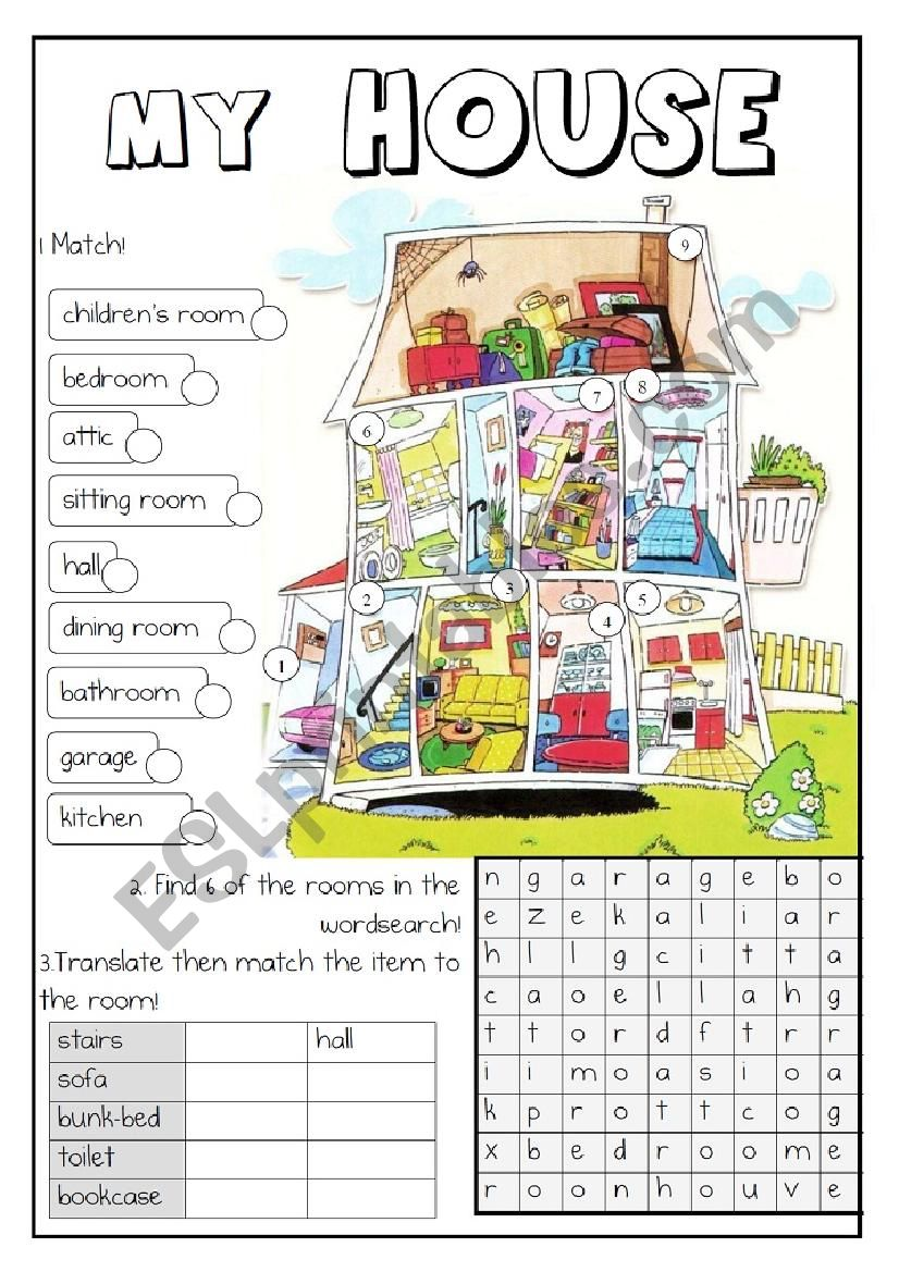 Rooms Worksheet: English Worksheets: ROOMS AND FURNITURE