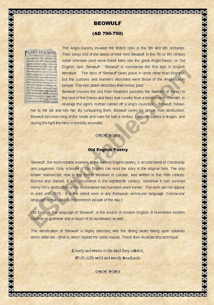 Beowulf worksheet