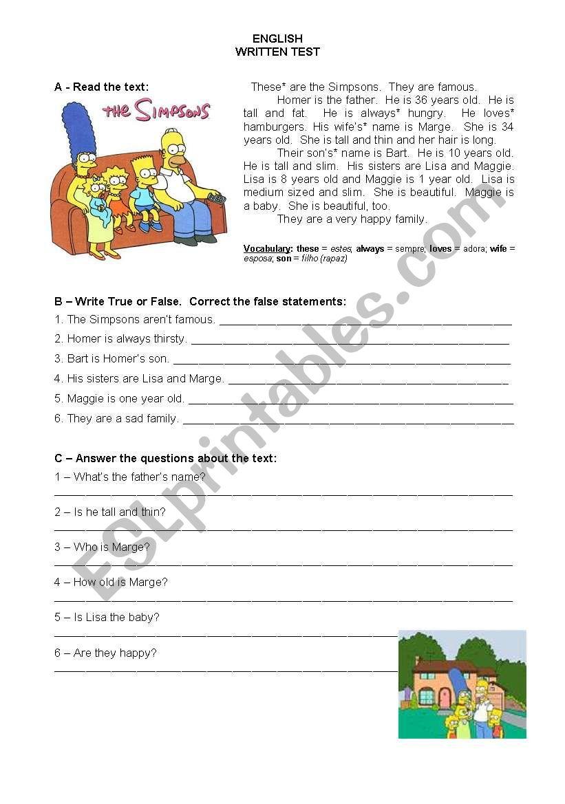 test simpsons - 5th year worksheet