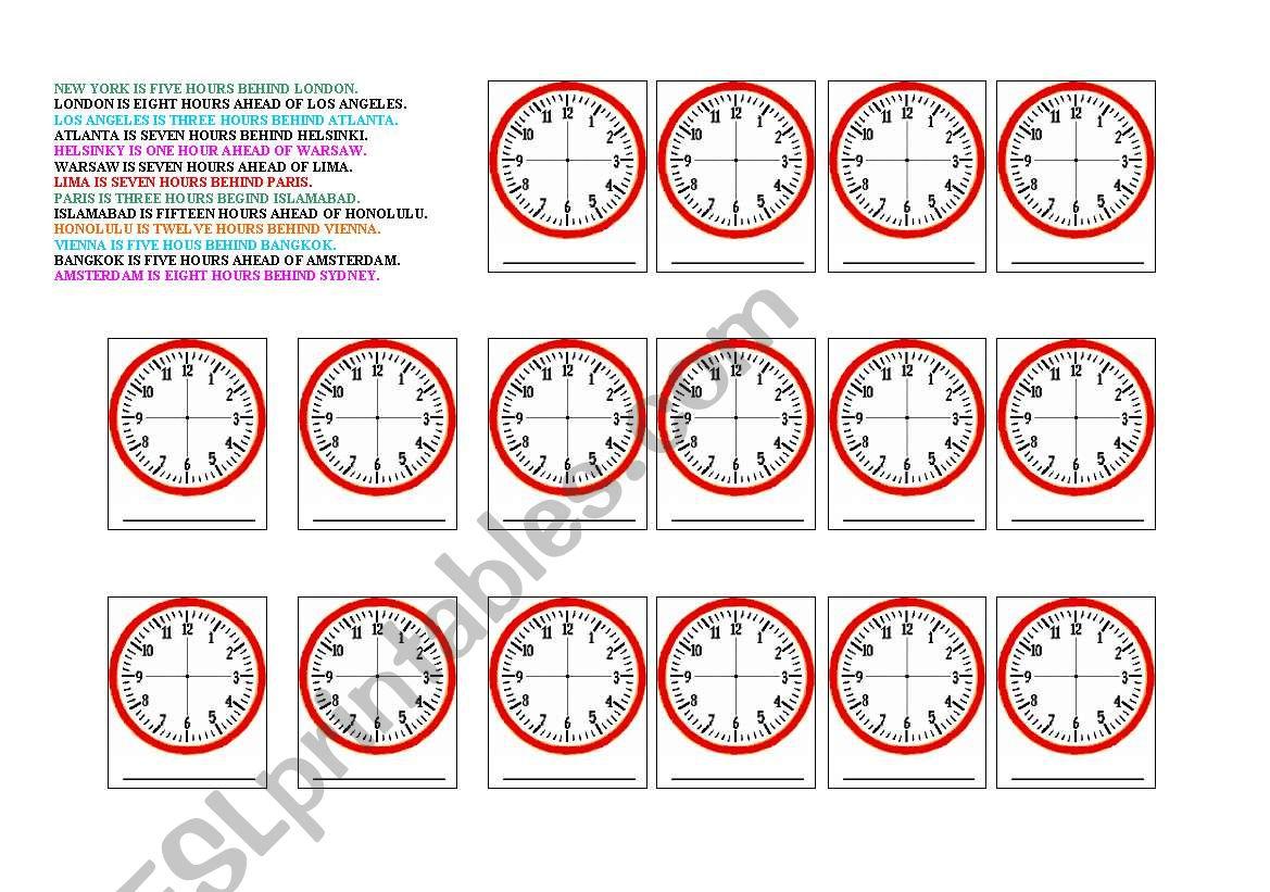 time zones and telling time esl worksheet by moravc. Black Bedroom Furniture Sets. Home Design Ideas