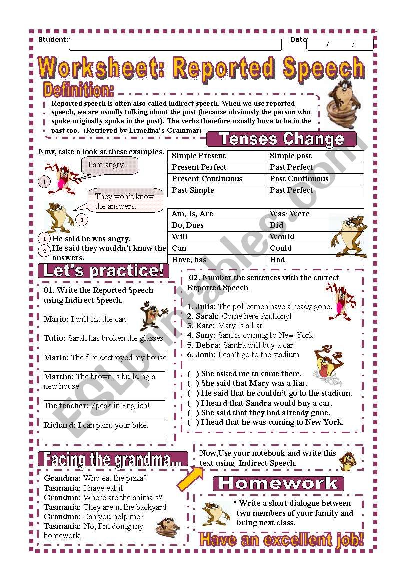 Worksheet: Reported Speech worksheet