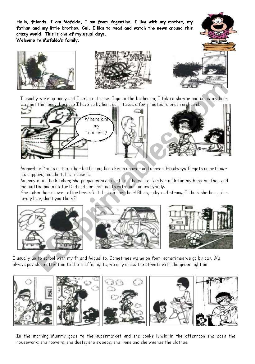 MAFALDA, MY FAVE CARTOON worksheet